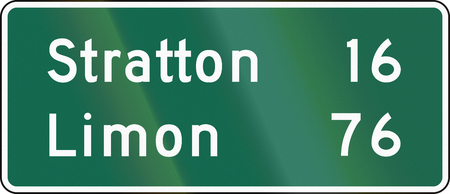 limon: United States MUTCD guide road sign - Distance sign. Stock Photo