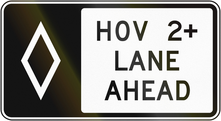 regulatory: United States MUTCD regulatory road sign - High occupancy vehicle lane with special permissions.