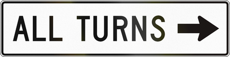 turns: United States MUTCD road sign - Allowed turns.