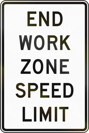 limit: United States MUTCD road sign - End work zone speed limit. Stock Photo