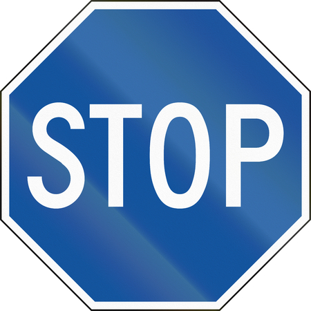 compliant: United States regulatory road sign - Alternative blue stop road sign in Hawaii.