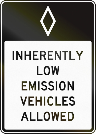 United States MUTCD regulatory road sign - High occupancy vehicle lane with special permissions.