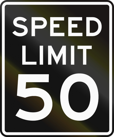 speed limit: Speed limit road sign in the United States with black background and white symbols. Stock Photo