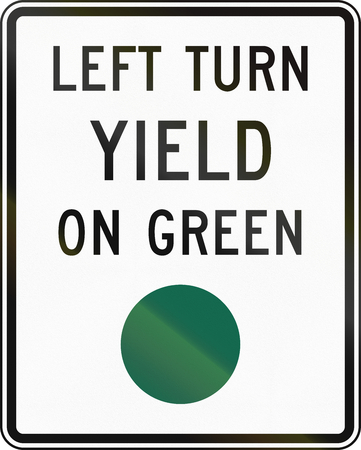 yield: United States MUTCD regulatory road sign - Left turn yield on green.