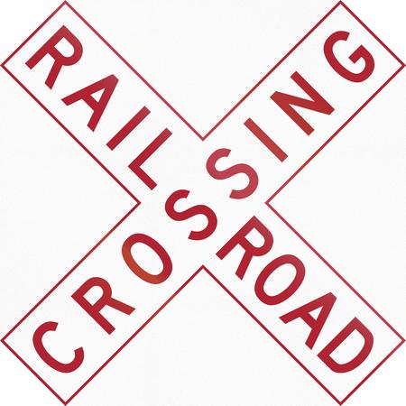 railroad crossing: Buckeye Crossbuck variant of the United States MUTCD, used in Ohio. Stock Photo