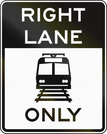 only: United States MUTCD road sign - Right lane only. Stock Photo