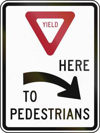 yield: United States MUTCD regulatory road sign - Yield here to pedestrians.