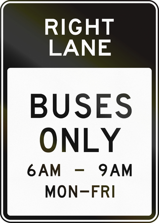 workday: United States MUTCD regulatory road sign - Bus lane with special permissions. Stock Photo
