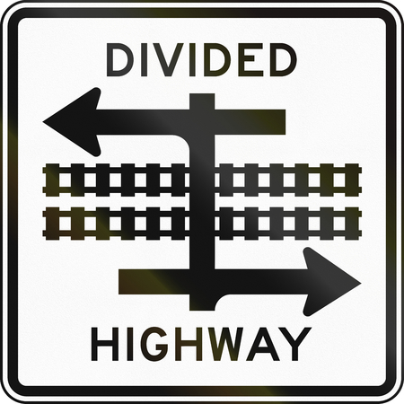 railroad crossing: United States MUTCD road sign - Divided highway.