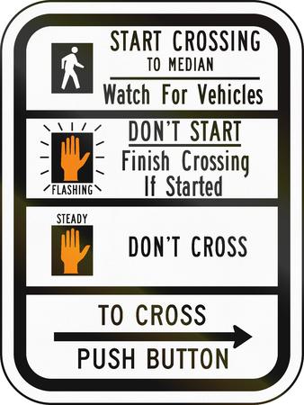 instrucciones: Estados Unidos MUTCD se�al de tr�fico - instrucciones paso de peatones.