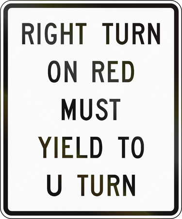 United States MUTCD road sign - Right turn on red must yield.