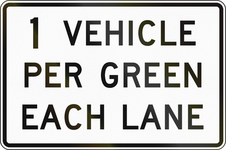 one lane road sign: United States MUTCD road sign - One vehicle per green.