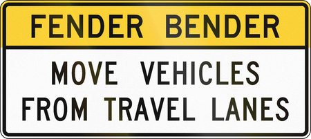 fender: United States MUTCD road sign - Fender bender. Stock Photo