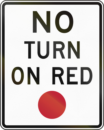 regulatory: United States MUTCD regulatory road sign - No turn on red. Stock Photo