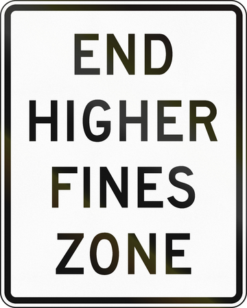 ends: United States MUTCD road sign - Higher fines zone ends.