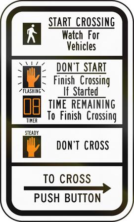 senda peatonal: Estados Unidos MUTCD se�al de tr�fico - instrucciones paso de peatones.