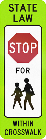 paso de peatones: United States MUTCD crosswalk road sign - Stop for children.
