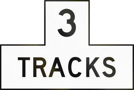 railroad crossing: United States MUTCD road sign - 3 Tracks.