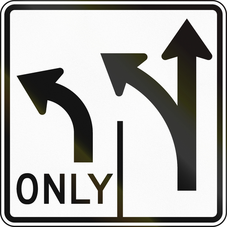 lanes: United States MUTCD road sign - Allowed turns on lanes.