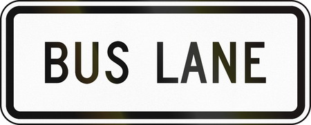 regulatory: United States MUTCD regulatory road sign - Bus lane. Stock Photo