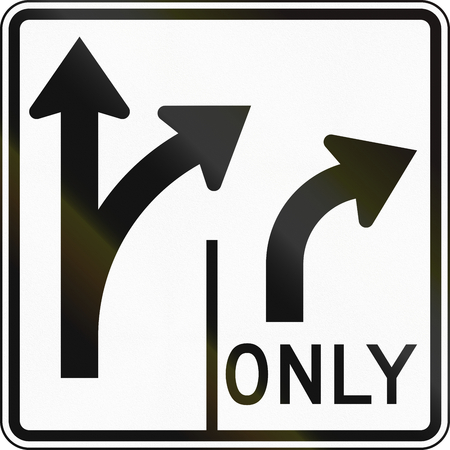 dividing line: United States MUTCD road sign - Allowed turns on lanes.