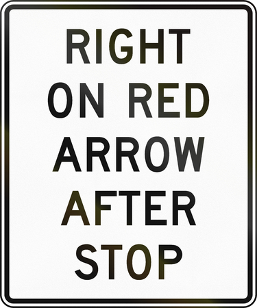 red arrow: United States MUTCD regulatory road sign - Right on red arrow after stop.