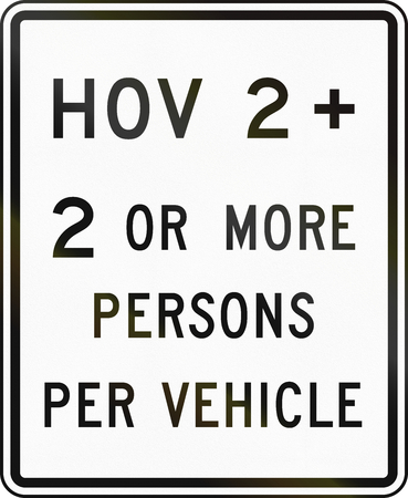 occupancy: United States MUTCD road sign - HOV lane. Stock Photo