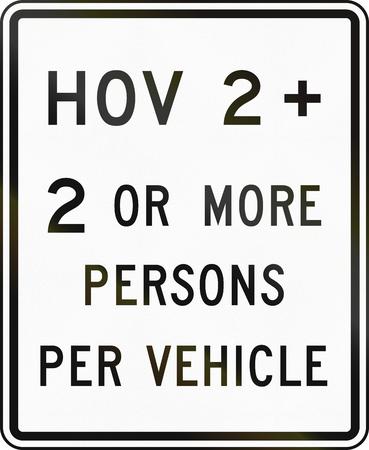 United States MUTCD road sign - HOV lane. 版權商用圖片