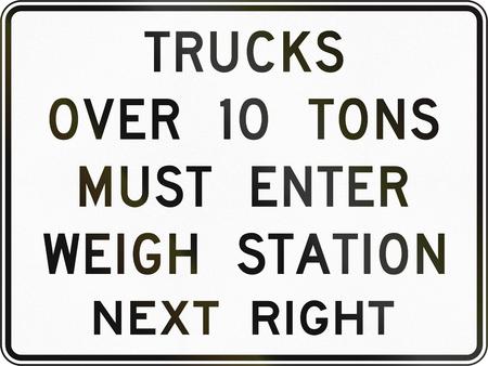 tons: United States MUTCD road sign - Trucks must enter weigh station. Stock Photo