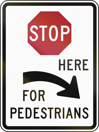 regulatory: United States MUTCD regulatory road sign - Stop here for pedestrians.
