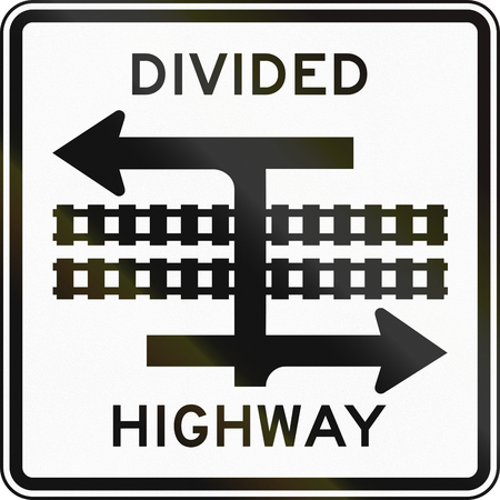 the divided: United States MUTCD road sign - Divided highway.