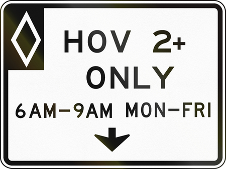 high road: United States MUTCD regulatory road sign - High occupancy vehicle lane with special permissions.