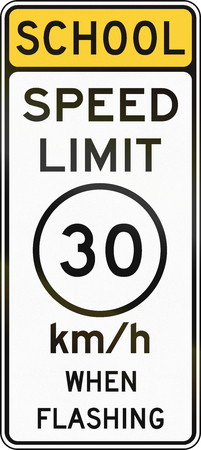speed limit: United States MUTCD school zone road warning sign - Speed limit. Stock Photo