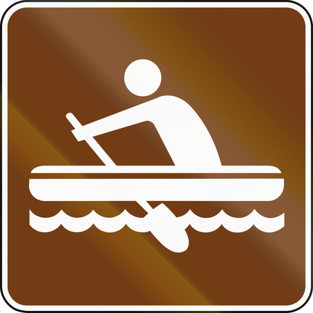 guide: United States MUTCD guide road sign - Rafting. Stock Photo