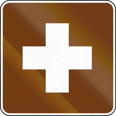 informational: United States MUTCD guide road sign - First aid.