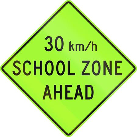 danger ahead: United States MUTCD school zone road warning sign - Speed limit ahead.