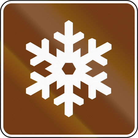 recreational area: United States MUTCD guide road sign - Winter Recreational Area. Stock Photo