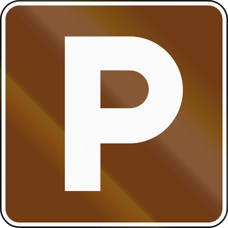 informational: United States MUTCD guide road sign - Parking place. Stock Photo