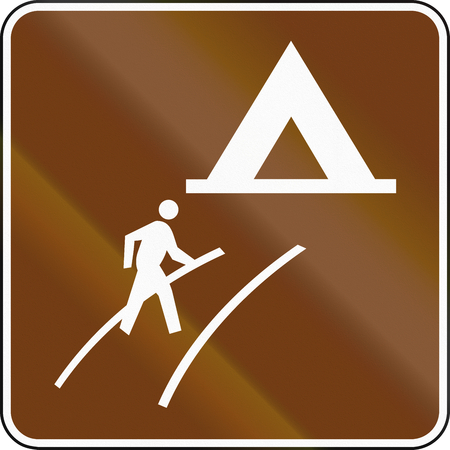 path pathway: United States MUTCD guide road sign - Walk-In Camp.
