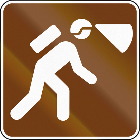exploration: United States MUTCD guide road sign - Cave exploration.