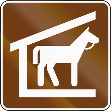 stables: United States MUTCD guide road sign - Stables. Stock Photo