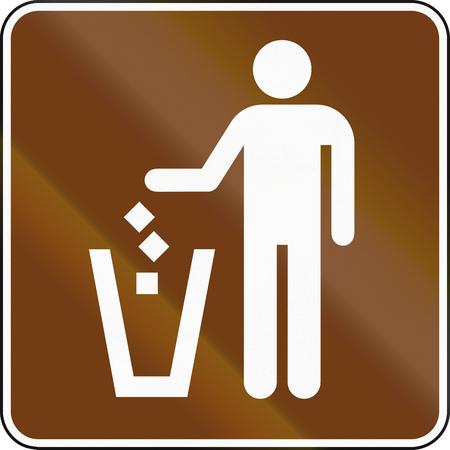 garbage bin: United States MUTCD guide road sign - Garbage bin.