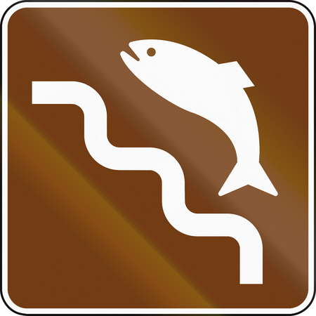 spawning: United States MUTCD guide road sign - Spawning run of salmon.