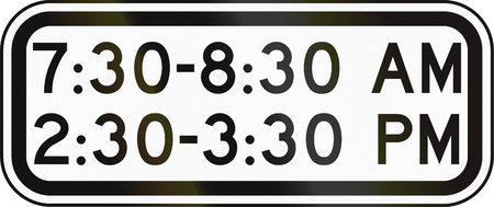 pm: United States MUTCD school zone road sign - At times shown.