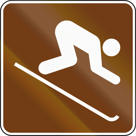 downhill skiing: United States MUTCD guide road sign - Downhill skiing.