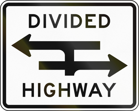 median: United States MUTCD road sign - Divided highway.