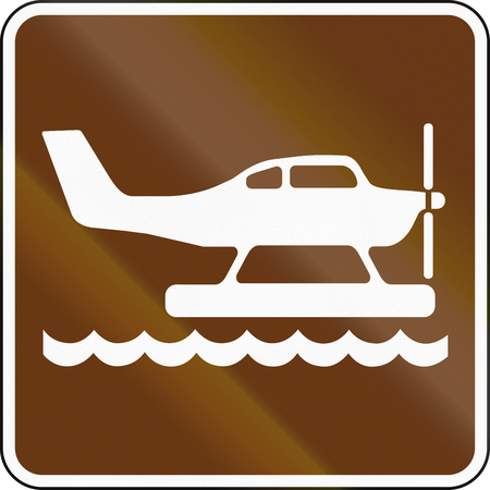aircraft take off: United States MUTCD guide road sign - Waterplane area.