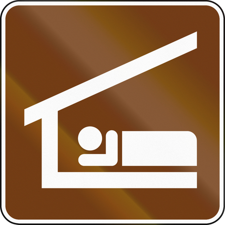 shelter: United States MUTCD guide road sign - Sleeping Shelter. Stock Photo