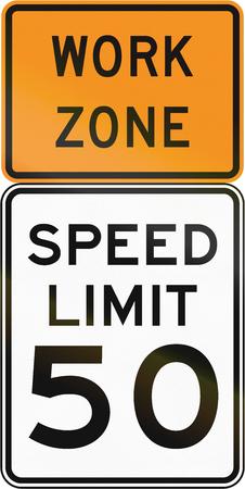 United States MUTCD regulatory road sign assembly.