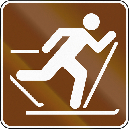 crosscountry: United States MUTCD guide road sign - Cross-country skiing.